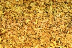 Torkade blommor faller på golvet, guld- blommor på jordning Royaltyfri Bild