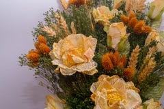 Torkade blommor i förgrunden, buketter av torkade blommor, blommaordning Arkivbilder