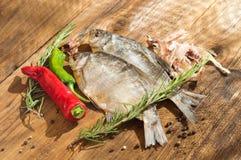 Torkade fisk, peppar och rosmarin Royaltyfri Bild