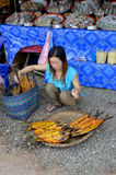 Torkade fiskar för kvinna försäljningar Royaltyfri Fotografi