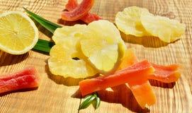 Torkade frukter i sommarljus arkivfoton