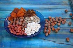 Torkade frukthasselnötter för muttrar frö royaltyfri fotografi