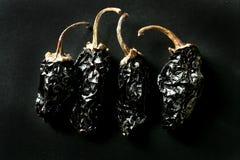 torkade mexikanska peppar för bakgrund svart chili Royaltyfri Foto