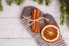 Torkade orange och kanelbruna pinnar på handske spelrum med lampa Julfilial och klockor Arkivbilder