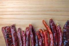 Torkade peppar för röd chili kritiserar på bakgrund Ingrediens för thai mat på wood tabellbakgrund Royaltyfri Foto
