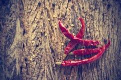 Torkade peppar för röd chili på gammal träbakgrund, tappningfärg Royaltyfria Foton