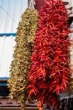 Torkade peppar och aubergine och färgglade kryddor Royaltyfri Fotografi
