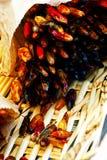 Torkade peppar på marknaden royaltyfri foto