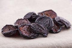 Torkade plommoner på textilbakgrund royaltyfria bilder