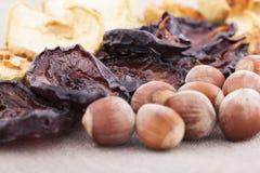 Torkade plommoner på textilen backgroundDried äpplen, plommoner och hasselnöten på tabellen royaltyfria foton
