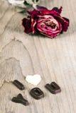 Torkade rosa och chokladord ÄLSKAR JAG DIG Royaltyfri Bild