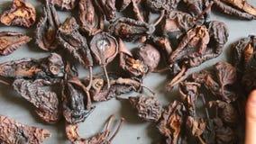 Torkade skivade päron, ingrediens för att förbereda drycken, matbakgrund arkivfilmer