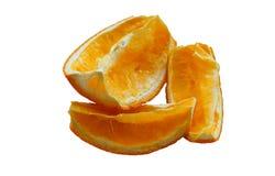 Torkade skivor av apelsinen, tre skivor av sammanpressade apelsiner som skivas av den torkade apelsinen Fotografering för Bildbyråer