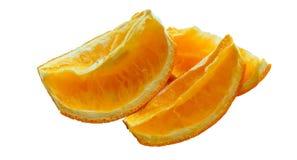 Torkade skivor av apelsinen, tre skivor av sammanpressade apelsiner som skivas av den torkade apelsinen Royaltyfria Foton