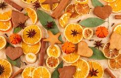 Torkade skivor av apelsiner, citroner, stjärnaanis, kanelbruna pinnar och pepparkakor, julbakgrund Royaltyfri Fotografi