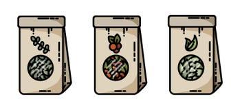 Torkade symboler för vektor för påsar för hantverk för örtte plana royaltyfri illustrationer