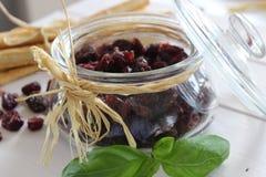 Torkade tranbär, kex, italiensk mat, italienska mellanmål, italienska kex Arkivfoton