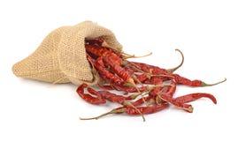 Torkade varma röda chili i en säck på vit backgroud Royaltyfri Foto