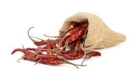 Torkade varma röda chili i en säck på vit bcackgroud Arkivfoto