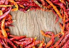Torkade varma röda chilir Fotografering för Bildbyråer