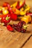 Torkat eller peppar på en gammal trätabell sund mat suddighet bakgrund Vegetarisk mat krydda som är kryddigt royaltyfri foto