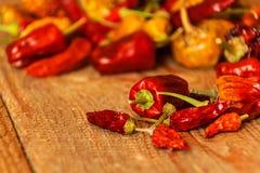 Torkat eller peppar på en gammal trätabell sund mat suddighet bakgrund Vegetarisk mat krydda som är kryddigt arkivfoton