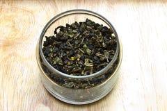 Torkat grönt te för blad Fotografering för Bildbyråer