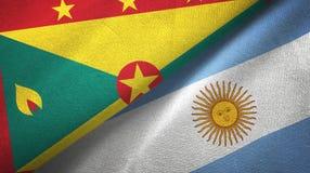 Torkduk f?r Grenada och Argentina tv? flaggatextil, tygtextur royaltyfri illustrationer