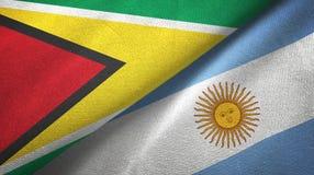 Torkduk f?r Guyana och Argentina tv? flaggatextil, tygtextur vektor illustrationer
