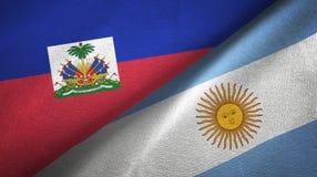 Torkduk f?r Haiti och Argentina tv? flaggatextil, tygtextur vektor illustrationer
