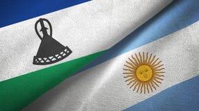 Torkduk f?r Lesotho och Argentina tv? flaggatextil, tygtextur vektor illustrationer