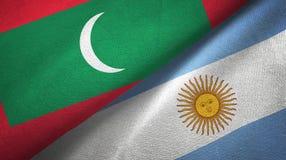 Torkduk f?r Maldiverna och Argentina tv? flaggatextil, tygtextur royaltyfri illustrationer