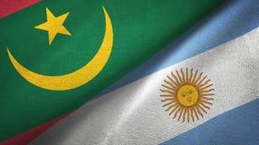 Torkduk f?r Mauretanien och Argentina tv? flaggatextil, tygtextur stock illustrationer