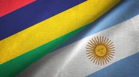 Torkduk för Mauritius och Argentina två flaggatextil, tygtextur stock illustrationer
