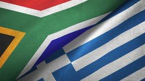 Torkduk för Sydafrika och Grekland två flaggatextil, tygtextur royaltyfri illustrationer