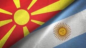 Torkduk f?r textil f?r norr Makedonien och Argentina tv? flaggor, tygtextur vektor illustrationer