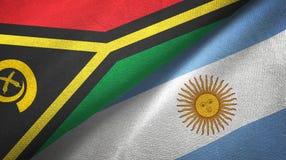 Torkduk f?r Vanuatu och Argentina tv? flaggatextil, tygtextur stock illustrationer
