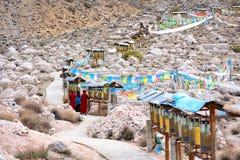 Torkduken av scripturesna i Tibet den Rotatable designen royaltyfri foto