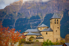 Torla Church in Pyrenees Ordesa Valley at Aragon Huesca Spain. Torla Church in Pyrenees Ordesa Valley door Aragon Huesca Spain Royalty Free Stock Images