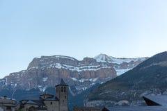 Torla town in Ordesa National pakr in the spanish pyrenees.  royalty free stock photos