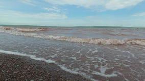 Torm auf dem See, der Wind fährt die Wellen stock video