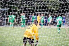 Tormann in einem Fußballziel Stockfoto
