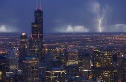Tormenta de Chicago del horizonte Imagen de archivo libre de regalías