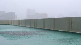 Tormenta de la lluvia en el tejado metrajes