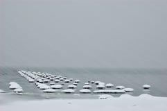 Tormenta de la nieve en el lago Imagen de archivo