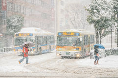 Tormenta de la nieve en Yokohama, Japón Foto de archivo