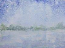 Tormenta de la nieve de la estación del invierno del paisaje ilustración del vector