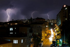 Tormenta del relámpago en Estambul, Turquía Fotografía de archivo