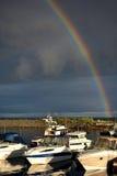 Tormenta en el mar con un arco iris Fotos de archivo libres de regalías