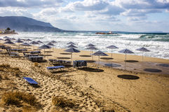 Tormenta en la playa Fotos de archivo libres de regalías
